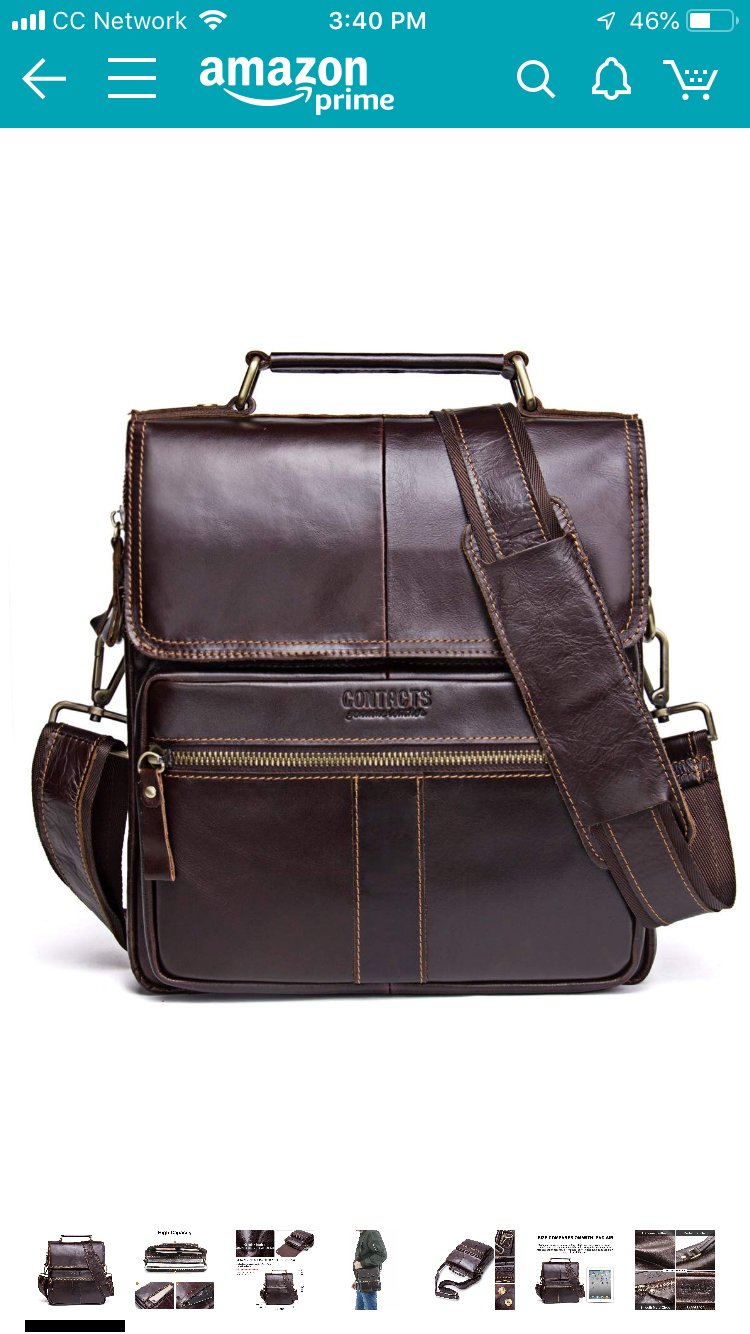 Contacts leather messenger bag